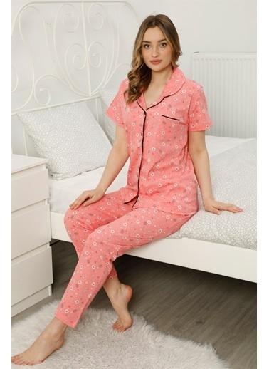 Akbeniz Kadın %100 Pamuk Önden Düğmeli Kısa Kol Pijama Takım 2810 Somon